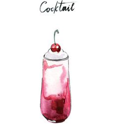 watercolor cherry milk cocktail vector image vector image
