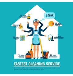 Woman cleaning vector