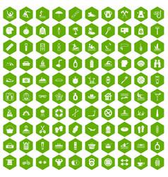 100 human health icons hexagon green vector