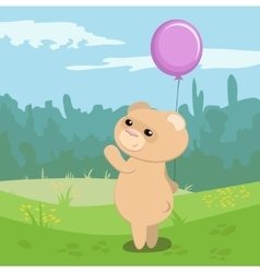 Funny bear with magenta balloon vector