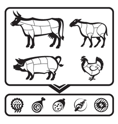 Cutting meat vector