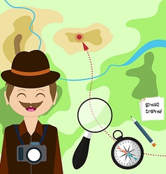 Map with tourist compass magnifying glass and vector