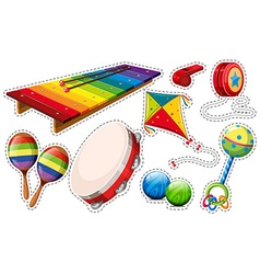 Sticker set of musical instrument and toys vector