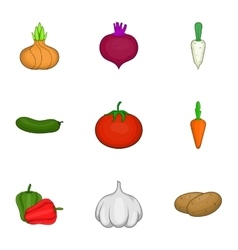 Vegetables icons set cartoon style vector