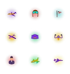 Flying device icons set pop-art style vector