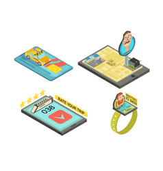 Call taxi by gadget isometric compositions vector