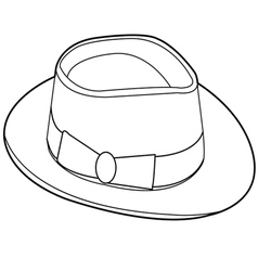 Vintage hat outline vector