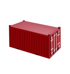 A red cargo container on white background vector