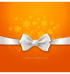 Orange christmas background with white silk bow vector