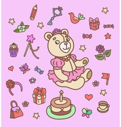 First birthday set vector