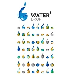 Large set of abstract eco water icons business vector