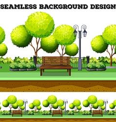 Trees and bench in the park vector