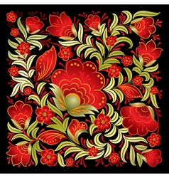 Abstract red floral ornament isolated on a black vector