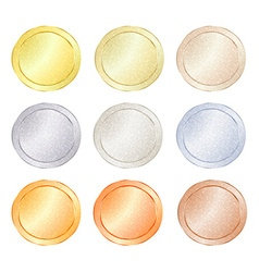 Set of blank templates for coin price tags buttons vector