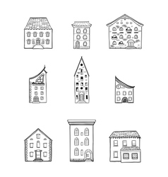 Houses set black and white vector
