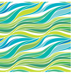 Color hand-drawing wave sea background blue vector