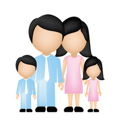 Color silhouette faceless family in formal clothes vector