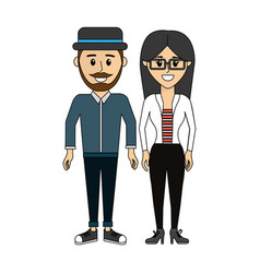 Couple man with hat and woman with glasses icon vector