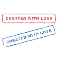 created with love textile stamps vector image vector image