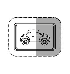 Figure square with sport car side inside vector