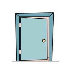 flat cartoon icon with slightly open ajar door vector image