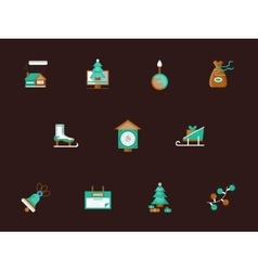 Flat color winter holidays icons set vector image vector image