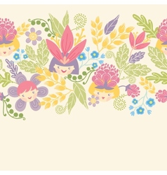 Flower girls horizontal seamless pattern vector image vector image