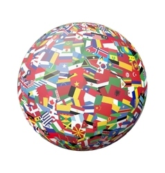 Globe with world flags vector image