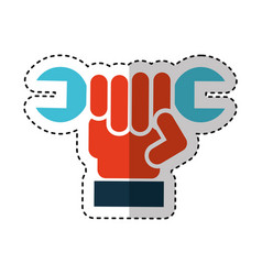 hand human with wrench vector image