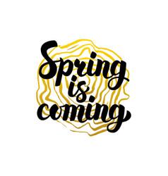Handwritten calligraphy spring is coming vector