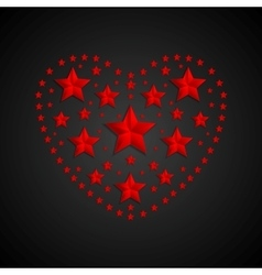 Heart symbol made of red stars on black background vector