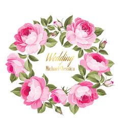 Invitation card with floral whreath vector