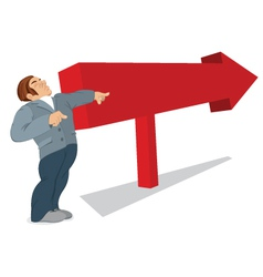 Man is pointing in the direction of a red arrow vector image