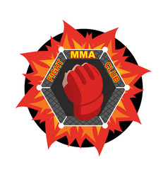 Mma logo fighting glove emblem for sports team vector