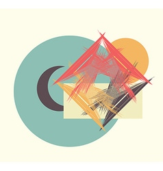 moon sun house vector image vector image