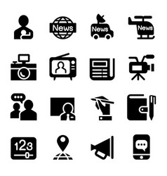 news media journal icons set vector image vector image