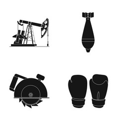 Oil pump air bomb and other web icon in black vector