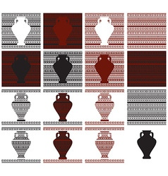 Pattern of greek ornament and vase vector
