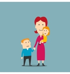 Portrait of happy family with mother and two kids vector image