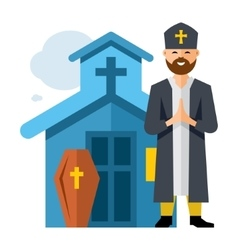 Priest and church flat style colorful vector