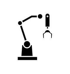 robot arm icon black sign on vector image