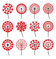 Set of decorative dandelion heart shape vector