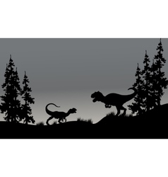 Silhouette of two allosaurus in hills vector