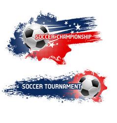 Soccer ball football tournament banner set design vector