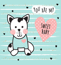 sweet dog card vector image vector image
