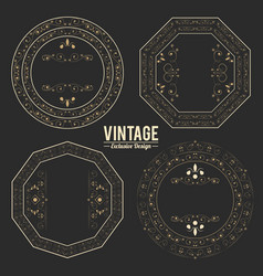 vintage exclusive set of luxury golden badges and vector image
