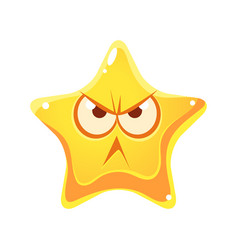 Wrathful emotional face of yellow star cartoon vector