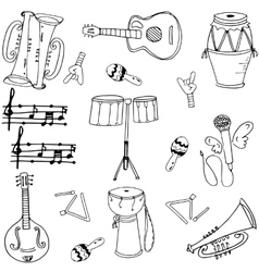 Musical instrument doodles art vector