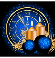 blue and gold christmas background vector image