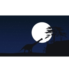 Argentinosaurus at night scenery silhouettes vector